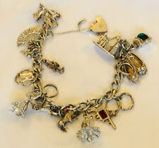 Vintage silver charm bracelet with charms 54g