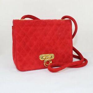 VTG Escada Italy Ladies Red Suede Cross Shoulder Messenger Bag