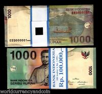 INDONESIA 1000 RUPIAH P141 SOLID LOW 000001 to 100 UNC VOLCANO CURRENCY 100 NOTE
