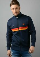 Ellesse Mens Track Top Jacket Full Zip Retro Navy Blue Logo Badges RRP £70