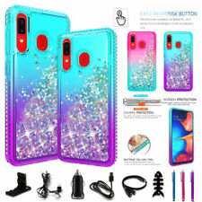 For Samsung Galaxy A20 Liquid Glitter Bling Shockproof Case Cover / Accessories