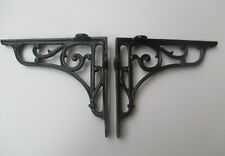 "7.5"" PAIR OF BLACK cast iron Victorian scroll ornate shelf support wall brackets"