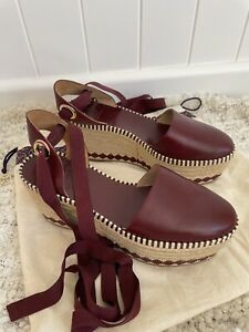 Burgundy Leather Tory Burch Ankle Tie Espadrille Wedges 9 As New
