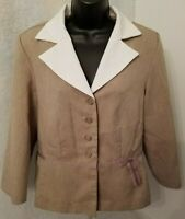 Sweet Suit Womens Brown White Button Down Shirt Top Blouse Blazer Size 12
