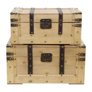 Vintage Style Wooden Industrial Storage Trunks Caspian Natural Box