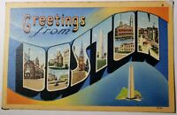 Vintage Large Letter  Greetings From BOSTON Linen Postcard 1940