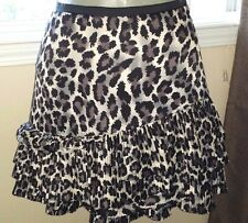 DKNY JEANS Black/Gray Cheetah Print Tiered Skirt Size MD  EUC - Must See!