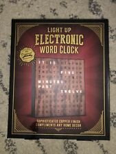 Electronic Word Clock,  Light Up Copper Finish with LED Light Display, USB Cord