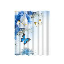 Fabric Waterproof Bathroom Shower Curtain Panel Sheer w/ 12 Hooks Butterfly