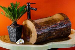 Baumstamm Waschbecken Waschplatz Holz Waschschale Gäste WC Holz Wasch Becken neu