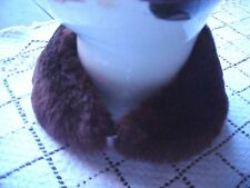 Vintage Collar Teddy Bear Doll Clothes Brown Faux Fur Brown Faille Lining Hook
