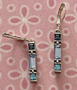 Brighton MODERNA #2 Blue Green Aqua Crystals Two-Sided Custom Earrings NWOT