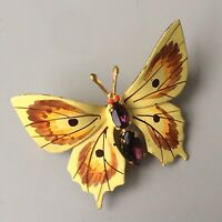 Vintage hand painted  Butterfly Brooch Pin