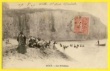 cpa AULT en 1905 (Somme) Les FALAISES Belle Animations Plage Mer 122 LA SYRÈNE