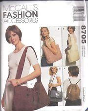 8705 UNCUT McCalls Vintage Sewing Pattern Tote Purse Backpack Messenger Bag OOP