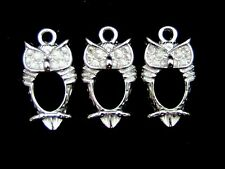 5 x 23mmTibetan Silver Owl Charms To Fit Rhinestones Jewellery Pendants  Y151