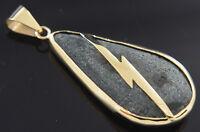 Piedra de Rayo en oro de 14 Kilates Piedra de los siete rayos 14k gold Pendant