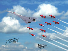 CONCORDE FLYING WITH RED ARROWS G-BOAD 16X12 SIGNED PHOTOGRAPH £45 NEW JUBILEE