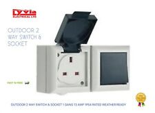 OUTDOOR 2 WAY SWITCH & SOCKET WEATHER OUTSIDE GARDEN IP54 RATED 1GANG 13AMP