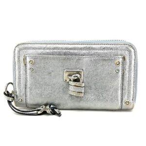 AUTHENTIC CHLOE Paddington Zip Around Long Wallet Silver Leather