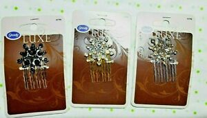 Goody Luxe Snowflake Rhinestone Side Combs Black Gold Silver Set of 3 New