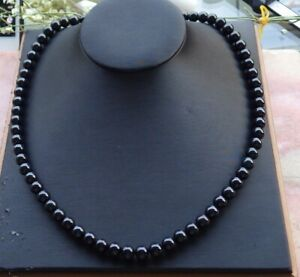 Certified Black Green Natural JADE Jadeite Bead Necklace 22 inches 墨翠项链 591076