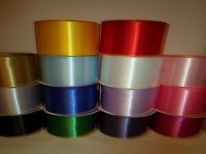 1, 2, 10, 50 metres x 100mm 10cm Satin Ribbon single sided party saches UK VAT