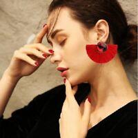 1Pair Women Fashion Crystal Long Tassel Fringe Earring Ear Stud Dangle Earrings