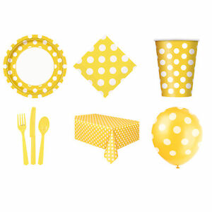 Dots Yellow Party Supplies Plates Napkins Cups Tablecover Straws Balloons