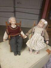 Rare Grandma and Grandpa Doll Couple. Porcelain w/cloth body & Rocking Chairs