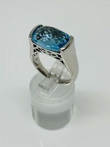 Gorgeous Sparkling Blue Topaz Stone High Ring 925 Silver Size O~O1/2 #12816