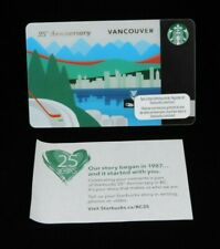 2011 Starbucks Vancouver 25th Anniversary Card Canada Unused New Post it info