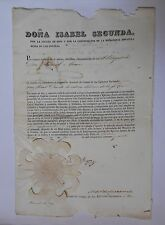 SPAIN military appointment document autograph YO LA REYNA 1847, Queen Isabel II