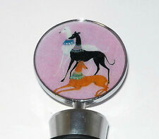 Greyhound Pink Deco Dogs Wine Bottle Stopper Whippet Ig