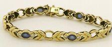 Heavy 18K gold elegant 3.72CTW VS1/G diamond & Blue sapphire line link bracelet
