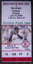 7/16/2000 Boston Red Sox v. Montreal Expos Box Seat Ticket Stub - Pedro Pictured