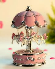 HoneyGifts Laxury Carousel Music Box,Flower Design,Pink