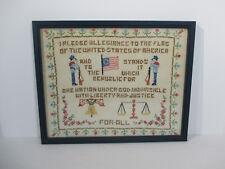 Patroitic Sampler Cross Stitch Framed Glass Flag Pledge of Allegiance Colonial