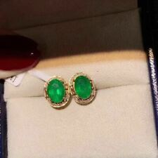 Certified Natural Colombia Emerald 925 Sterling Silver Oval Earrings Women Gift