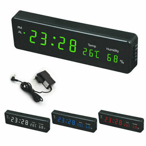 Digital Wall Clock LED Calendar Temperature Humidity Display Desk Alarm Clock