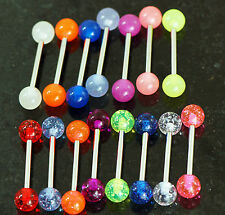 "20 Pc 14g 5/8"" Glow In the Dark and Glitter Ball Tongue Rings Nipple Barbells"