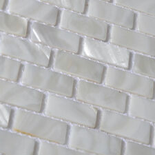 white brick shell mosaic tile mother of pearl bathroom kitchen shower wall tile