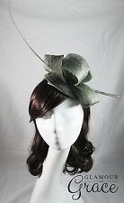 Bridget green fascinator headpiece hat wedding races Melbourne Cup Derby Day