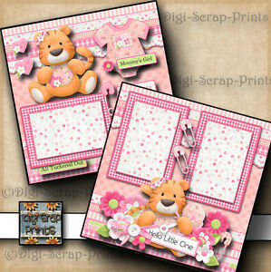 BABY GIRL ~ 2 premade scrapbook pages paper piecing layout BY DIGISCRAP #A0062