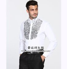 Men's Performance Shirts Sequined Formal dress Costumes Stage Glittering Blouses
