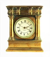 BRASS Heavy Mantle Shelf Clock Greek Columns Verdigris Patina Roman Numerals