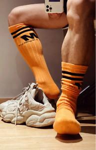 Mens Orange Ribbed Stripe Calf Length Synthetic Football Socks Fetish Gay UK