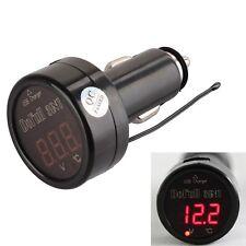 Red 3in1 Digital Voltmeter Thermometer 12/24V Cigarette Lighter USB Car Charger