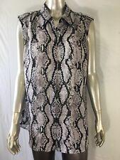 b0836a0223649 Liz Claiborne Sheer Black White Snakeskin Animal Print Sleeveless Top Size  XL