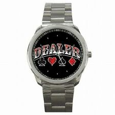 Card Dealer Poker BlackJack Las Vegas Stainless Steel Sport Watch New!